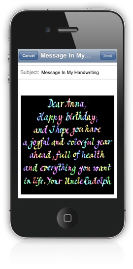 handwritten email on iphone